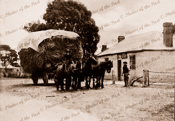 Temperance Hotel, Myponga S.A. Coach staging point. South Australia. Horeses, hay