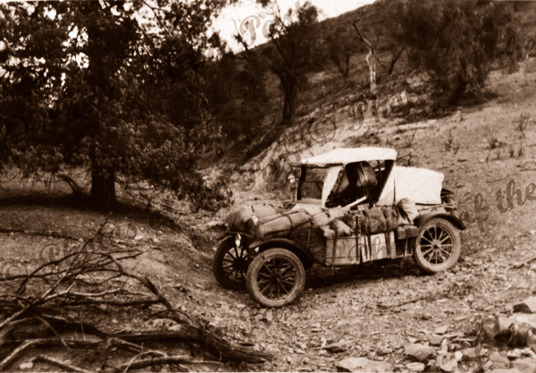 The Walkers in their car touring Northern & Central Australia. 1928