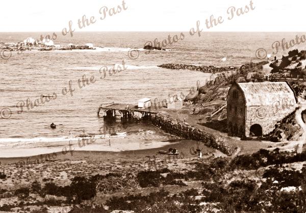 View to jetty & ware-house. Port Elliot, SA. South Australia. 1890s