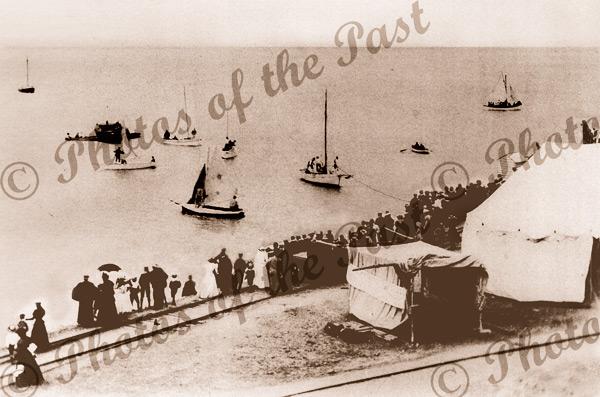 Sports Day, Victor Harbor, SA. c1900s. South Australia. sailing boats