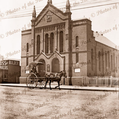 Unknown church at Boulder/Kalgoorlie WA. Horse & buggy at front. 1910s. Western Australia
