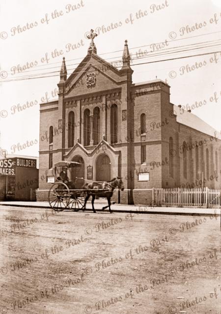 Unknown church at Boulder/Kalgoorlie WA. Horse & buggy at front. 1910s. Western Australia