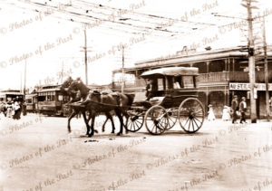 Australia Hotel, Kalgoorlie, WA. plus trams. Horse and carriage. c1910s. Western Australia