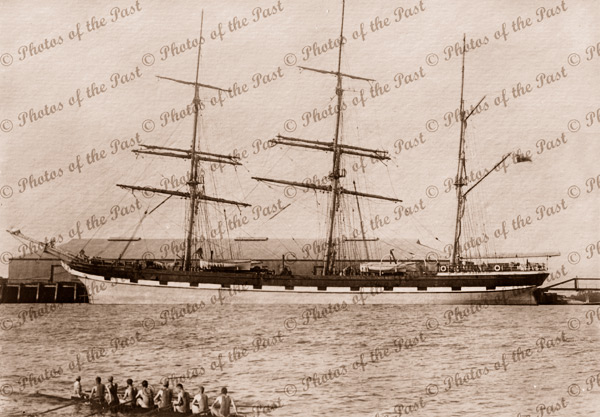 Barque LOCH NESS at Port Adelaide, SA. South Australia. Shipping. Built 1869. Rowing