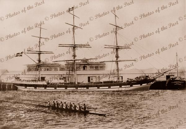 Ship BLENHEIM in the New Dock, Pt. Adelaide, SA. Built 1877. South Australia. Rowing. Shipping
