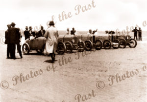 At the start. Car racing on Sellicks Beach, SA 1 Jan 1926. South Australia