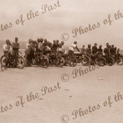 Sellicks Beach Motor Bike trials, SA. Lining up for the race. c1925 South Australia