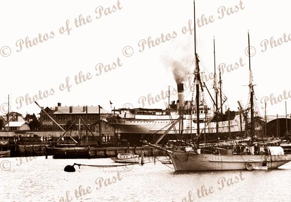 SS KARATTA on Fletchers Slip, ketch CAPELLA, Port Adelaide, SA. c1940. Shipping. South Australia