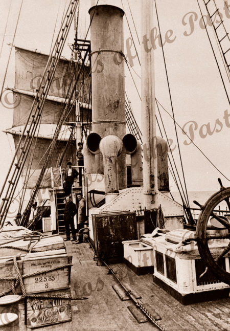 View from after deck S.Y.AURORA, Antarctica, AAE. c1914. Shipping