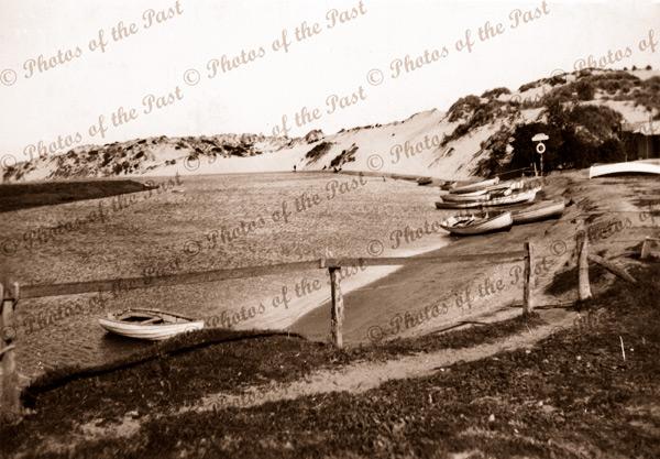 Onkaparinga River & Hire Boats at Port Noarlunga, SA. 1940s. San dune. South Australia