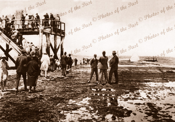 Port Noarlunga jetty and exposed reef at low tide. SA. Pier, beach. South Australia. c1930s
