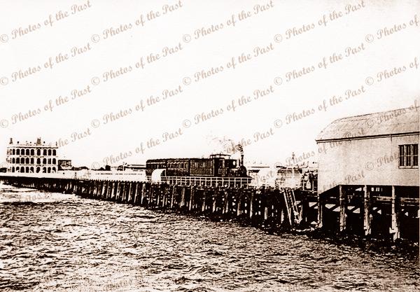 Train, Largs Bay jetty, SA. 1900. Large Pier Hotel South Australia
