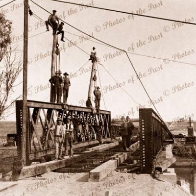 Construction of original railway bridge, Onkaparinga River, SA. 1914. South Australia