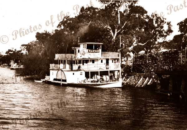 PS MAGGIE at Euston, Vic.Victoria. Paddle Steamer
