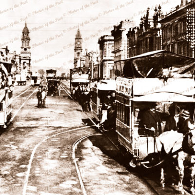Horse trams, King William St Adelaide, SA.c1895. Soth Australia