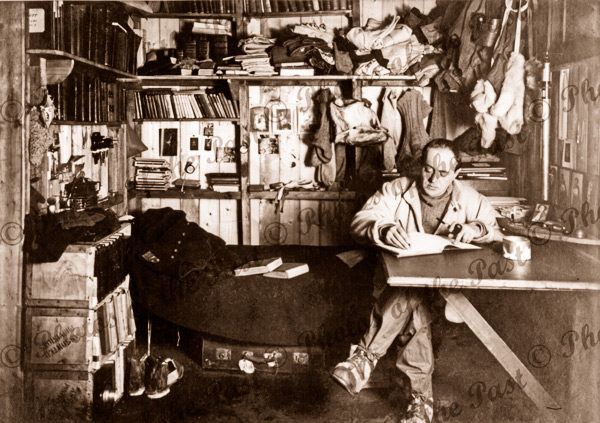 Scott writing his diary in Winter Quarters. British Antarctic Expidition. BAE c1911