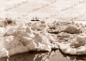 Aux barque TERRA NOVA in McMurdo Sound, Antarctica, 1910. shipping. snow and ice