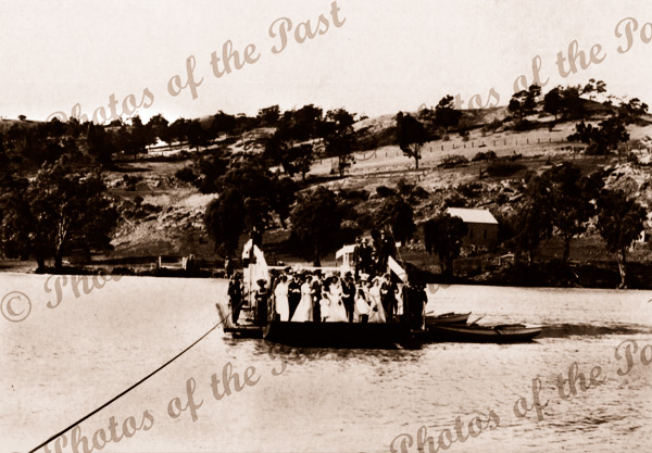 German wedding party on ferry at Walkers Flat, SA. South Australia. River Murray. 1908