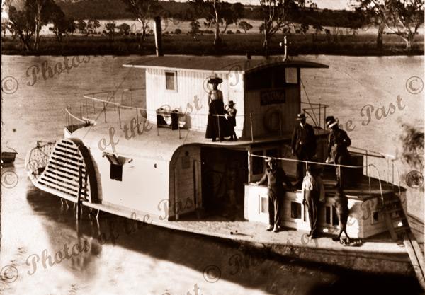 PS ETONA at Walkers Flat, SA. South Australia. Paddle steamer, river boat. C1900