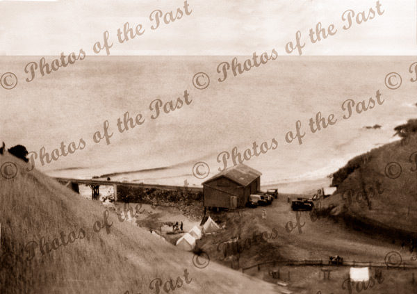 View down hill to Goods shed, Second Valley, SA. South Australia. Jetty. 1934