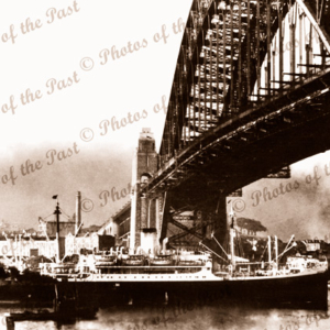 SS TOSCANA at Sydney, c1950s. New South Wales. Sydney Habour Bridge. Shipping