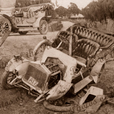 Alldays and Onions motor car. c1910s. Crashed