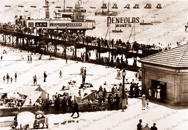 Glenelg, SA - View of jetty and aquarium. South Australia. Penfolds Wines, Pier. c1930s