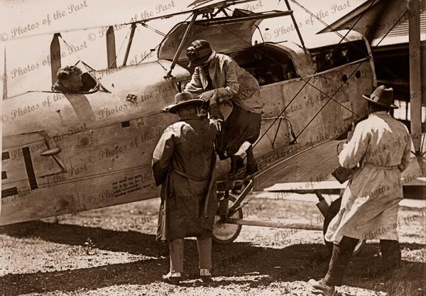 After a safe landing, Hendon Field, Albert Park, SA. c1920s. South Australia. Airplane