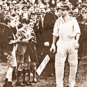 Don Bradman at Leeds, England. 4th Test. He scored 103 runs. July 1938. Cricket
