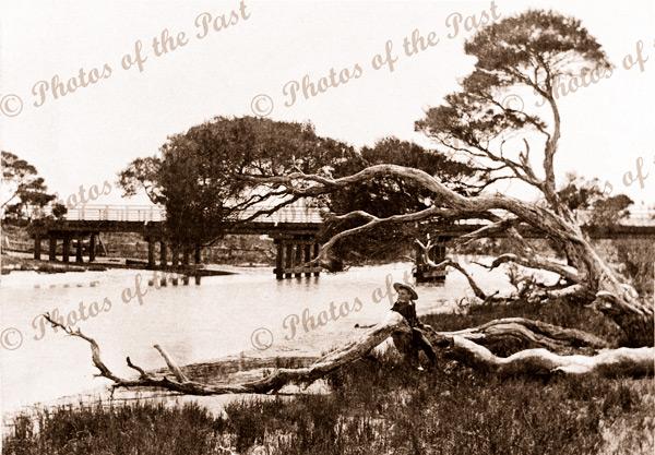 Old wooden bridge over Inman River. Victor Harbor, SA. South Australia. c1900