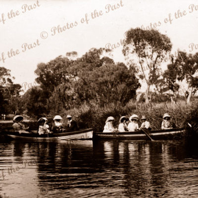 Boat parties on Hindmarsh River. Victor Harbor, SA. c1900. South Australia