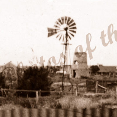 View to old flour mill. Victor Harbor, SA. South Australia. 1954
