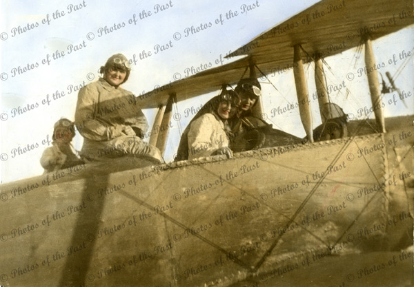 Butler & others in his Avro bi-plane (hand tinted) 1920. aviation