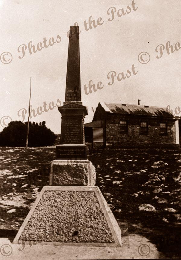 Rapid Bay District WW1 Memorial, Second Valley, SA. 1861 school beyond. South Australia c1918