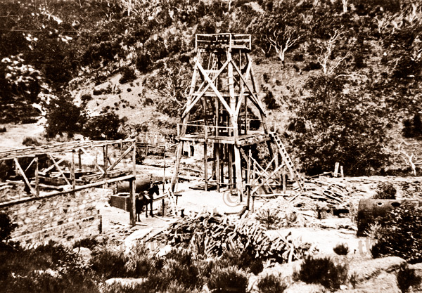 Main shaft at Talisker Mine, SA. c1890s. South Australia