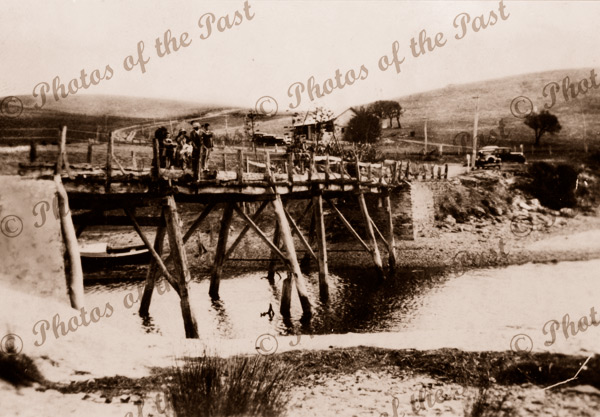 Old wooden bridge at Myponga Beach, SA. 1934. South Australia