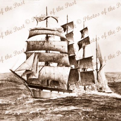 4M Barque FALLS of HALLADALE. Stranded near Warrnambool Victoria November 1908. ship wreck