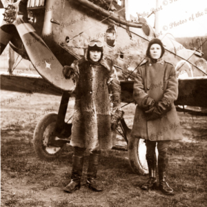 Harry Butler & Army Chaplain with bi-plane in Glasgow WW1. World War. Scotland. C1917