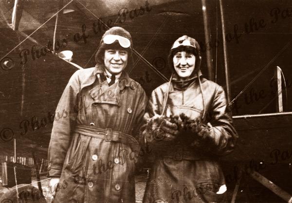 Harry Butler & future wife Elsa Birch Gibson prior to flight in Avro 504K across gulf to Minlaton, SA. January 1920. South Australia