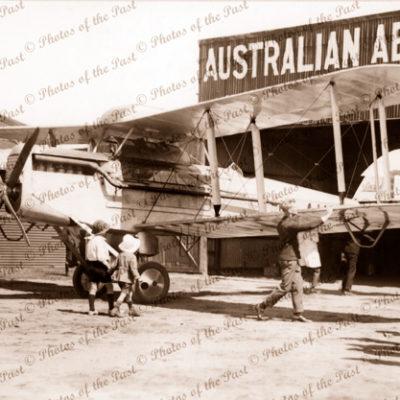 "Australian Aerial Services"" Aerodrome hangar, Albert Park, SA. South Australia. 1920s"