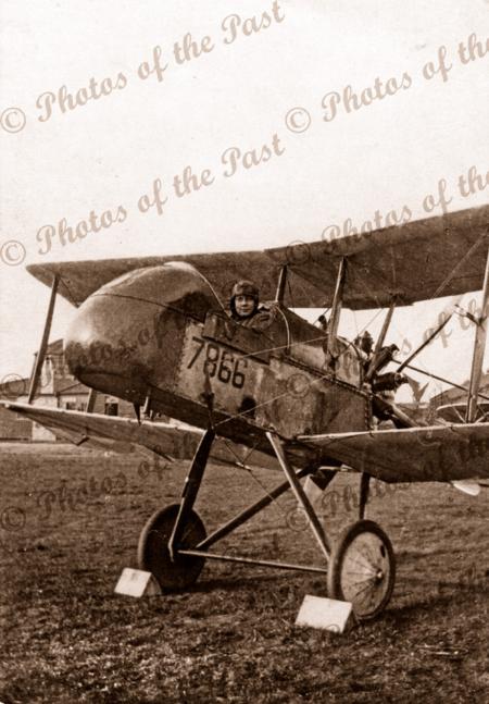 Harry Butler in Farman Experimental 2b rear engine bi-plane in England 1916. Aviator