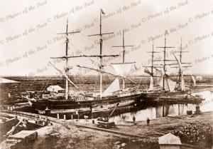 Ships PEKINA & COONATTO in SA Company's Basin. Port Adelaide, SA. South Australia. 1867