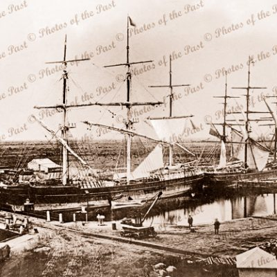 Ships PEKINA & COONATTO in SA Company's Basin. Port Adelaide, SA. South Australia. 1867