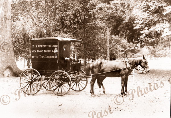 Reuben Tyler's (preacher) horse drawn van. c1910s