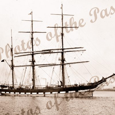 3M Barque LOCH TAY under tow out of Victoria Dock, Melbourne, VIC. Built 1869. Shipping. Victoria.