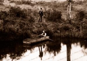 Log rowing boat on Onkaparinga River, Ambleside, SA. South Australia. 1890