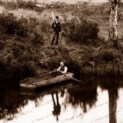 Log rowing boat on Onkaparinga River, Ambleside, SA. South Australia. 1890