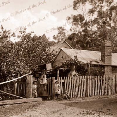 An early cottage at Hahndorf, SA. c1890. small children. South Australia
