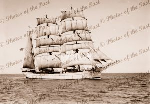 3M Barque FAVELL under sail. Built 1895. Shipping