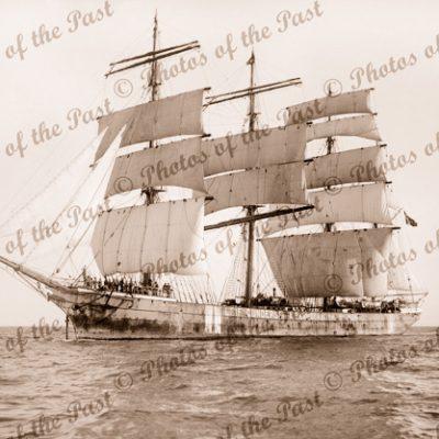 4M Barque LEIF GUNDERSEN ex BANNOCKBURN under sail. Built 1886. Ship